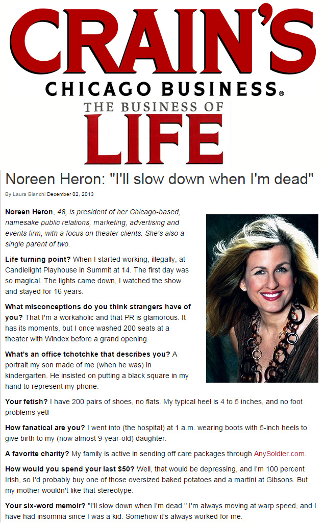 Crain's Chicago Business Noreen Heron Feature