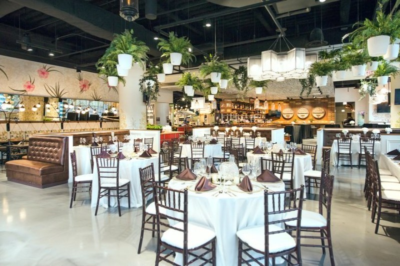 white tabletops with greenery