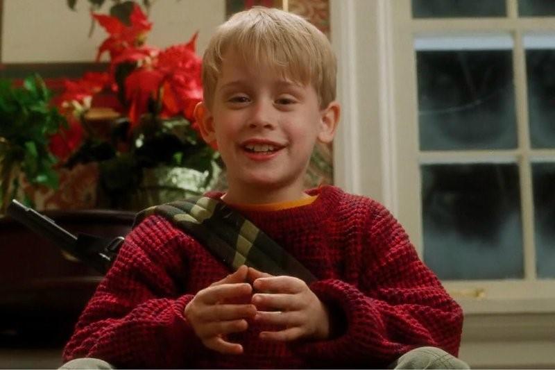 little blonde boy in red sweater