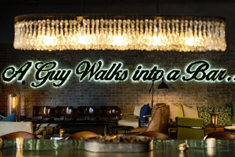 quote on interior of bar