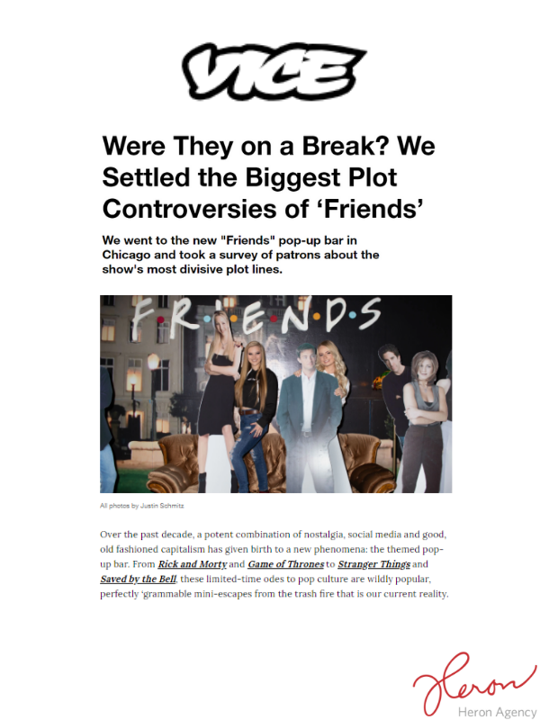 picture of an article with the friends pop up