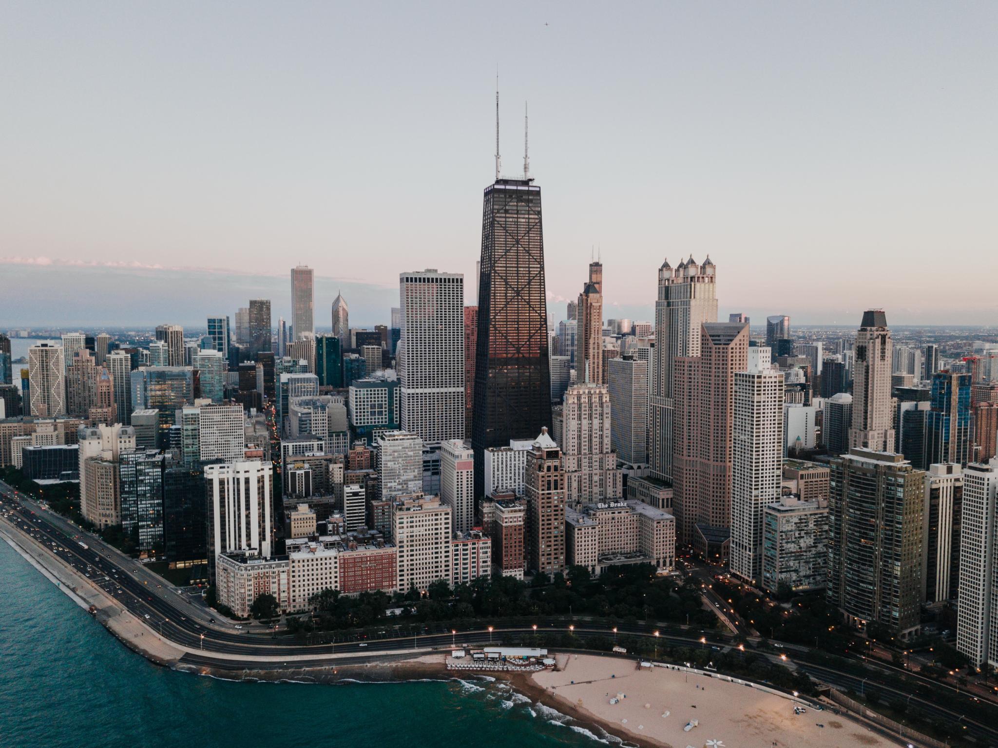 chicago city skyline in summer