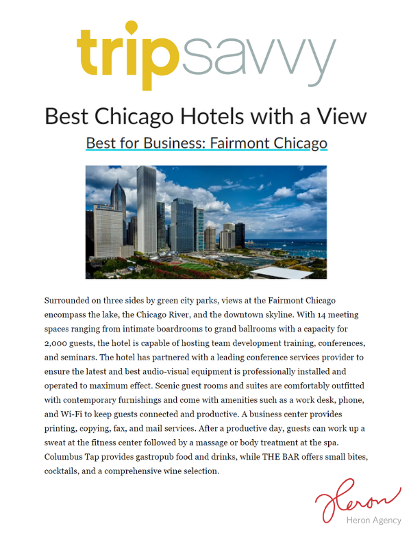 TripSavvy Placement for Fairmont Chicago